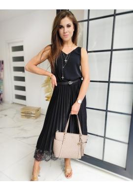 Dámská plisovaná sukně s krajkou v černé barvě