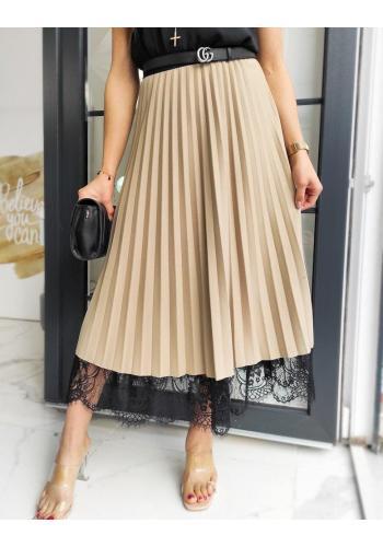 Plisované dámské sukně béžové barvy s krajkou