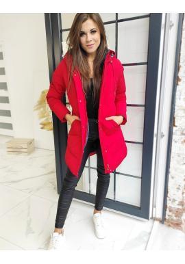 Červená prošívaná bunda s odepínací kapucí pro dámy