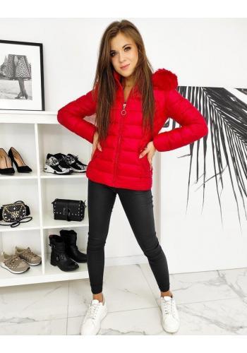 Prošívané dámské bundy červené barvy na zimu