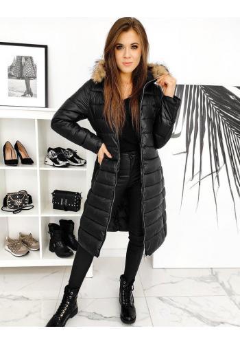 Černá dlouhá prošívaná bunda s páskem pro dámy