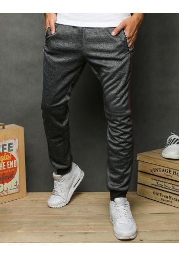 Pánské módní tepláky s potiskem v šedé barvě
