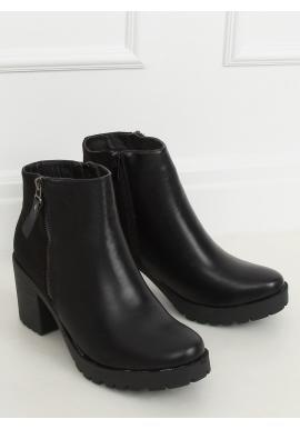 Dámské kotníkové kozačky na širokém podpatku v černé barvě