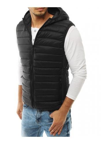 Černá prošívaná vesta s kapucí pro pány ve výprodeji
