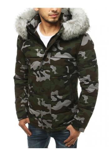 Šedo-zelená maskáčová bunda na zimu pro pány ve slevě