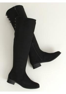 Semišové dámské kozačky nad kolena černé barvy s ozdobou