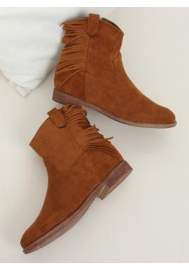 Hnědé semišové boty na skrytém podpatku pro dámy