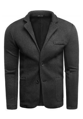 Neformální pánské sako černé barvy s knoflíky