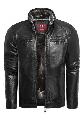 Pánská oteplená kožená bunda na zimu v černé barvě