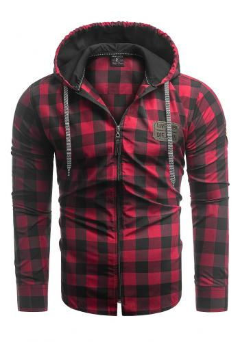 Kostkovaná pánská košile červeno-černé barvy ve stylu mikiny