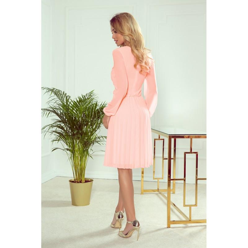 Dámské plisované šaty s dlouhým rukávem v broskvové barvě