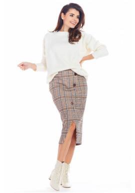 Hnědá károvaná sukně s ozdobnými knoflíky pro dámy