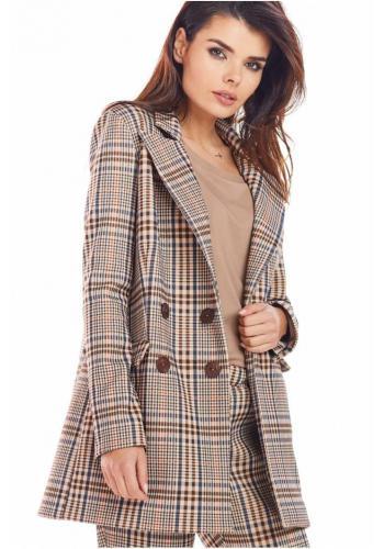 Dámské kárované sako s volným střihem v hnědé barvě