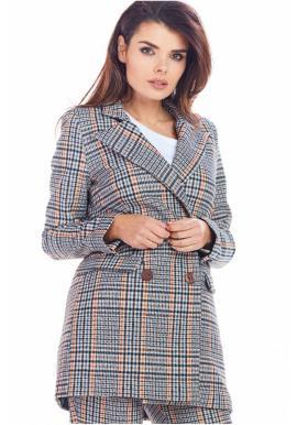 Tmavě modré kárované sako s volným střihem pro dámy