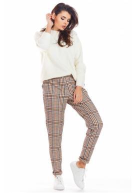 Hnědé kárované kalhoty pro dámy