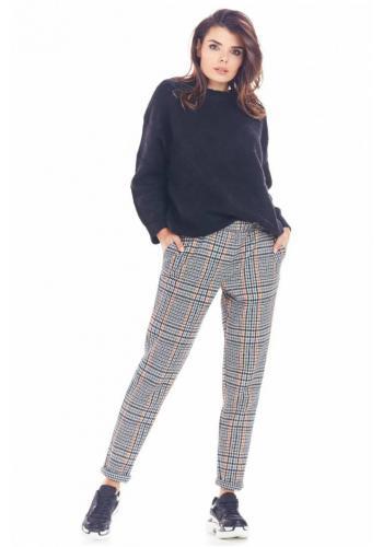 Dámské kárované kalhoty v tmavě modré barvě