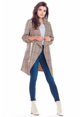 Elegantní dámské sako hnědé barvy s károvaným vzorem