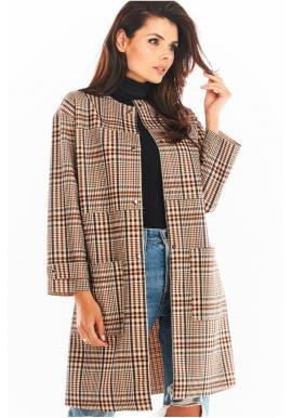 Károvaný dámský kabát hnědé barvy bez límce