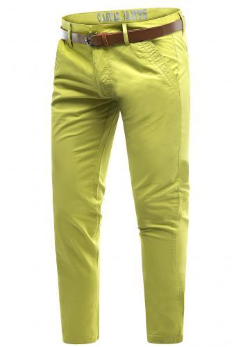 Bavlněné pánské chinos kalhoty žluté barvy