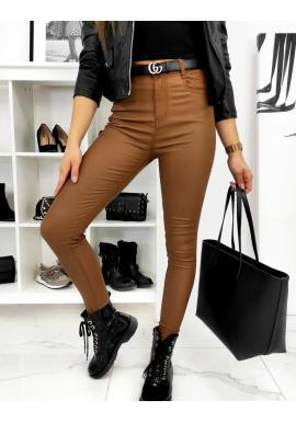 Hnědé voskované kalhoty s vyšším pasem pro dámy