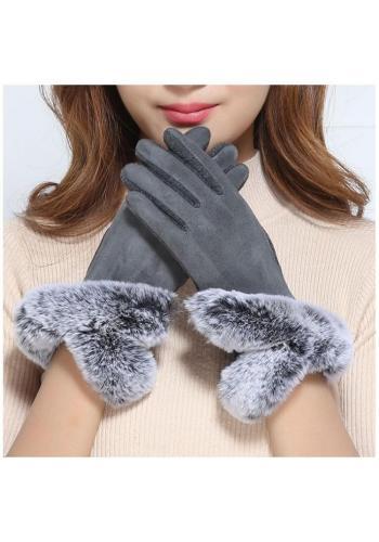 Teplé dámské rukavice šedé barvy s kožešinou