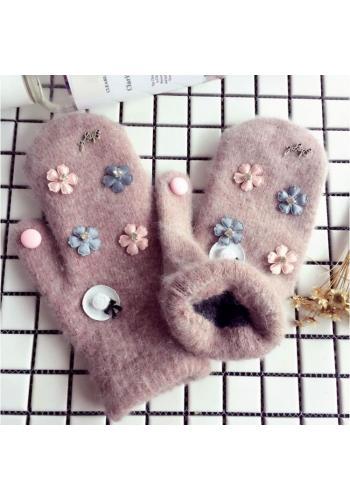 Dámské zimní rukavice s květinami v hnědé barvě