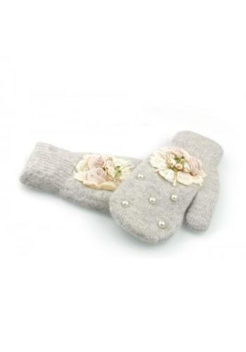 Šedé zimní rukavice s perlami a ozdobou pro dámy