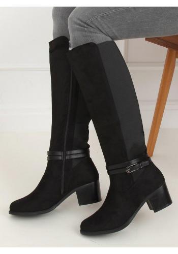 Černé elastické kozačky na širokém podpatku pro dámy