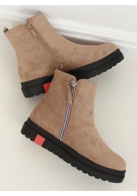 Dámské semišové boty s vysokou podrážkou v béžové barvě