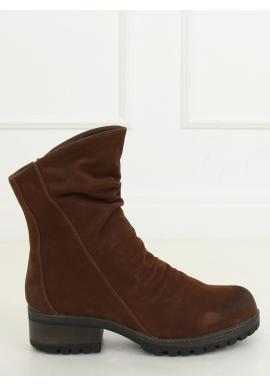 Hnědé nubukové boty s nařaseným svrškem pro dámy