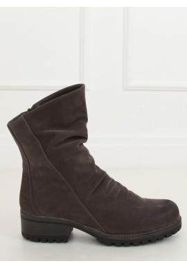 Dámské nubukové boty s nařaseným svrškem v šedé barvě