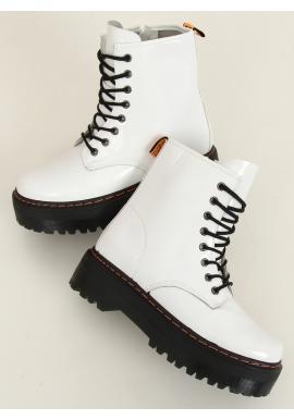 Dámské stylové boty s vysokou podrážkou v bílé barvě