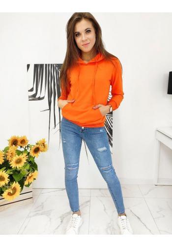 Oranžová sportovní mikina s kapucí pro dámy