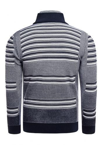 Tmavě modrý proužkovaný svetr se zapínaným rolákem pro pány
