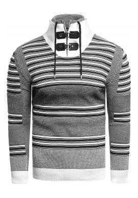 Pánský proužkovaný svetr se zapínaným rolákem v bílé barvě