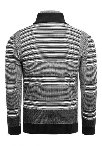 Pruhovaný pánský svetr černé barvy se zapínaným rolákem
