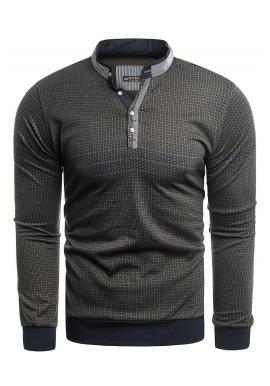 Černo-hnědý vzorovaný svetr se zapínaným výstřihem pro pány
