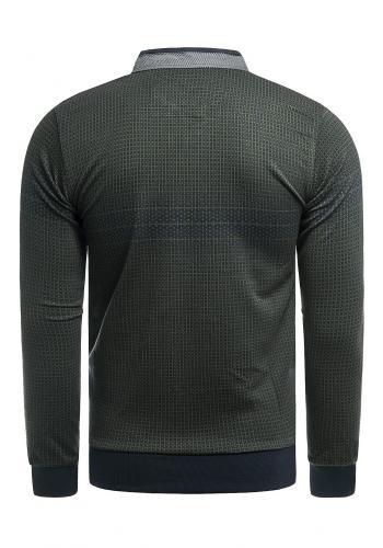 Pánské vzorované svetry se zapínaným výstřihem v černé barvě