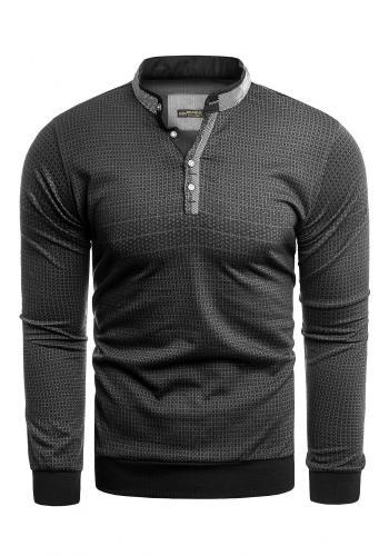 Vzorovaný pánský svetr černo-šedé barvy se zapínaným výstřihem