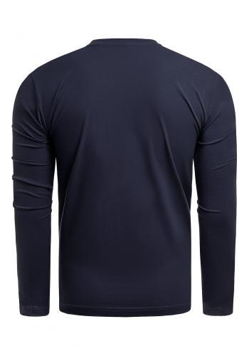 Tmavě modré bavlněné triko s dlouhým rukávem pro pány