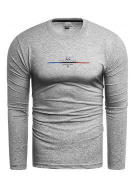 Bavlněné pánské tričko šedé barvy s dlouhým rukávem