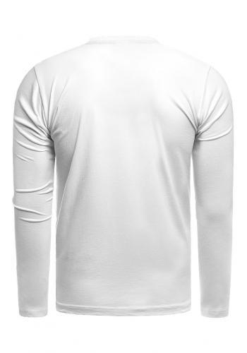 Bavlněné pánské tričko bílé barvy s dlouhým rukávem