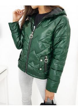 Dámská prošívaná bunda na podzim v zelené barvě