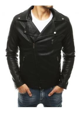 Pánská kožená bunda na podzim v černé barvě