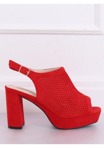 Azurové dámské sandály červené barvy na stabilním podpatku