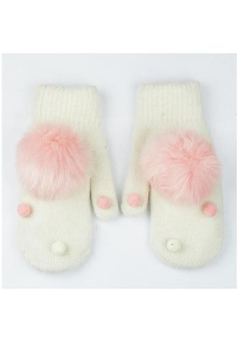 Dámské zimní rukavice s pompony v béžové barvě