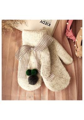 Zimní dámské rukavice šedé barvy s pompony a mašlí