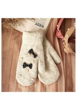 Dámské zimní rukavice s perlami v šedé barvě