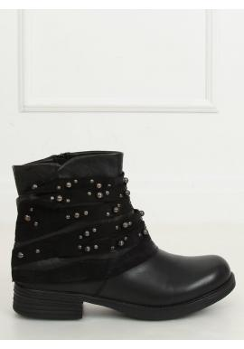 Módní dámské boty černé barvy se semišovým límcem