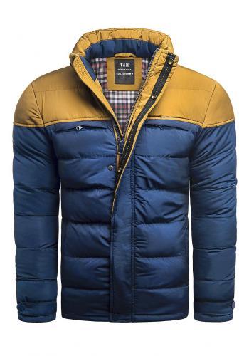 Zimní pánská bunda modré barvy s odepínací kapucí